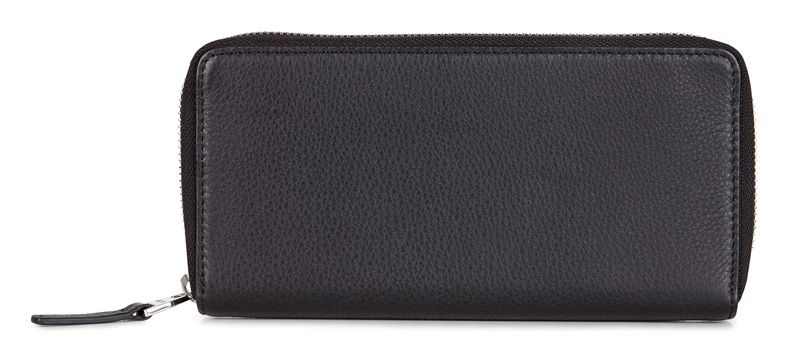 Jos Large Zip Wallet (أسود)
