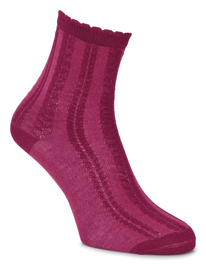 Cable Knit Socks (Red)
