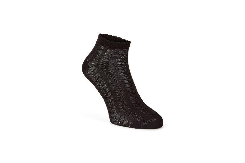 Short Cable Knit Socks (Black)
