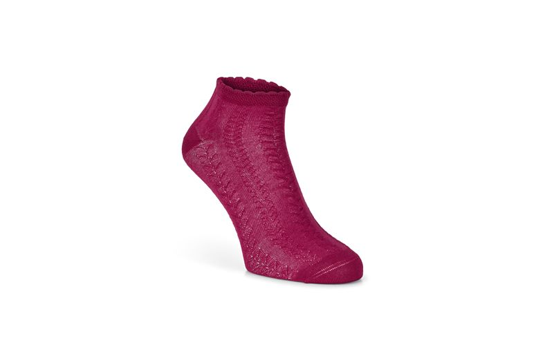 Short Cable Knit Socks (Rosso)