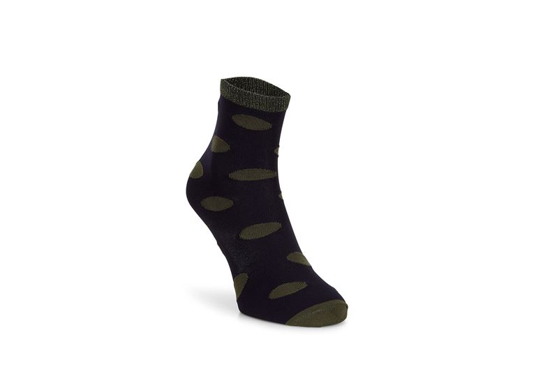 Contrast Dotted Socks Wom (أزرق)