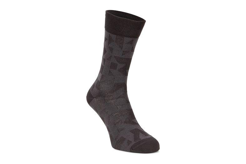 Geometrik Crew Socks (رمادي)