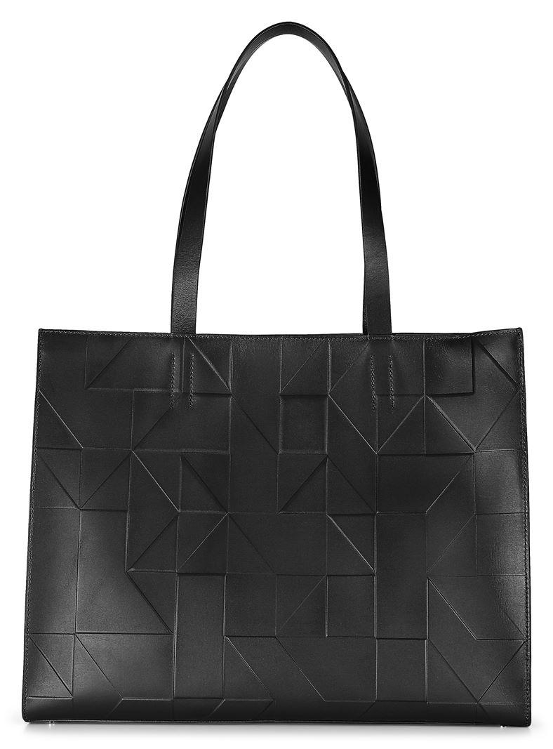 Geometrik Shopper (أسود)