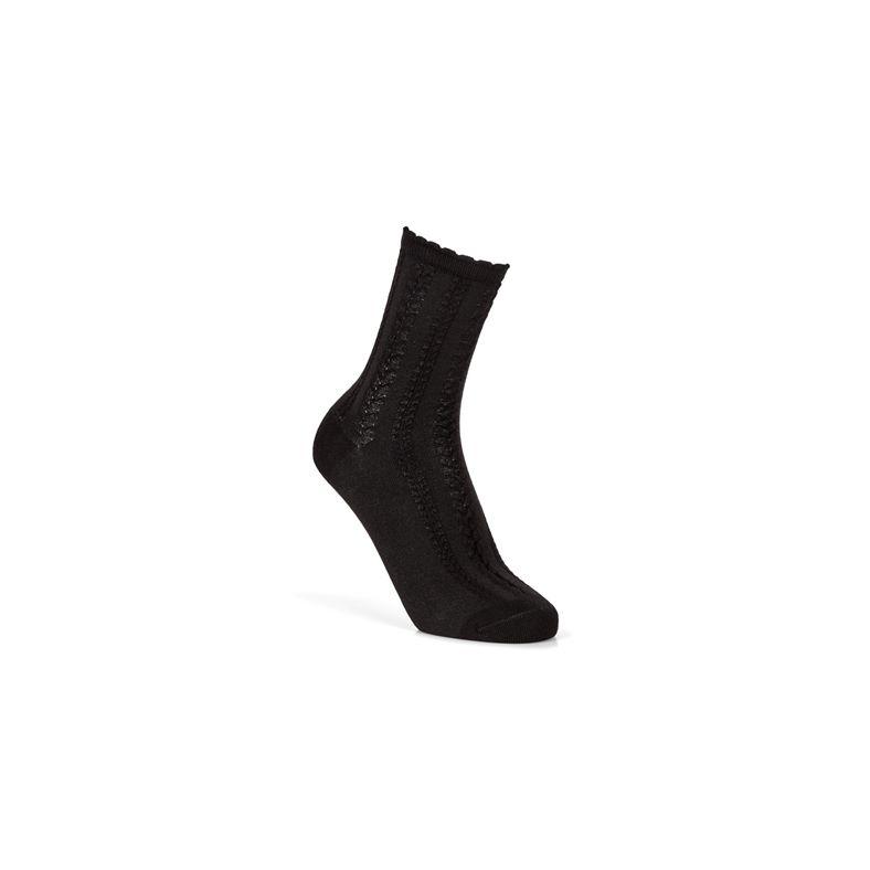 Cable Knit Socks (أسود)