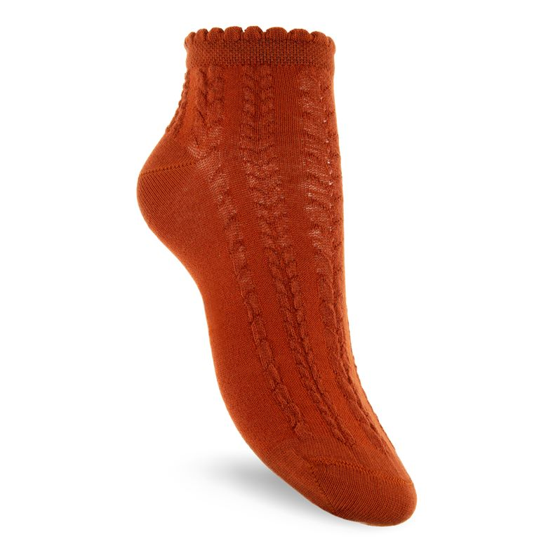 Short Cable Knit Socks (Brown)