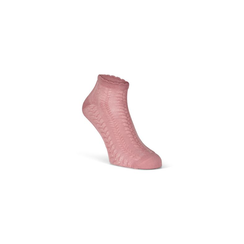 Short Cable Knit Socks (Red)