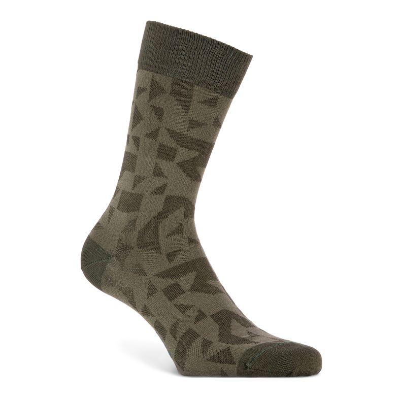 Geometrik Crew Socks (Green)