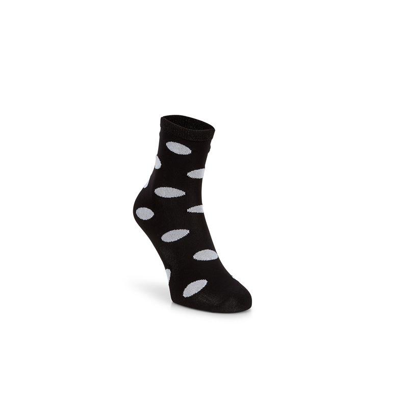 Contrast Dotted Socks W (Black)
