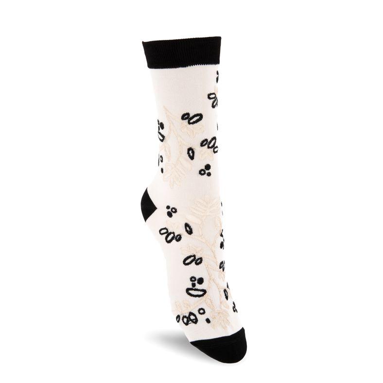 Floral-Pattern Socks W (Blanco)