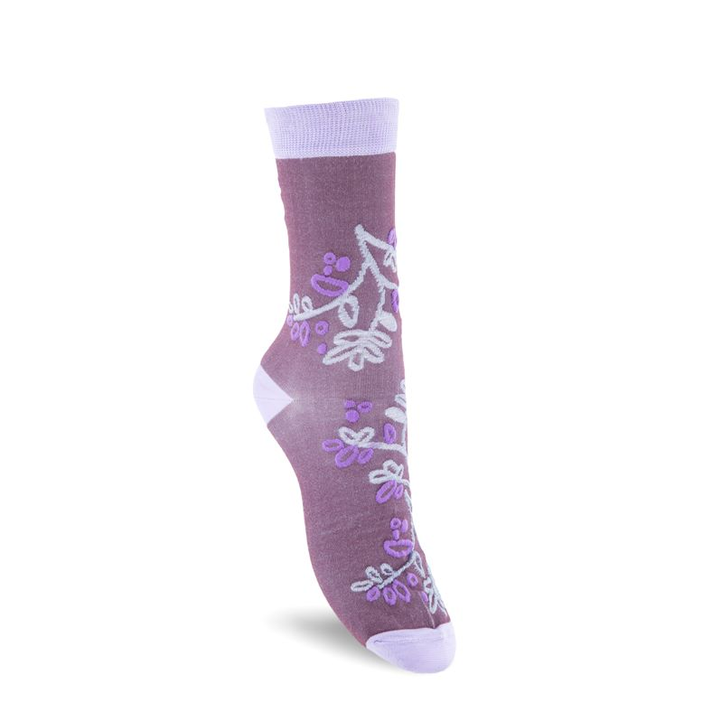 Floral-Pattern Socks W (Rojo)